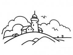 美丽的城堡风光风景简笔画图片