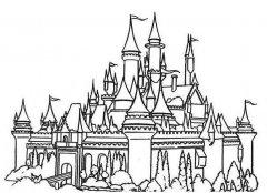 美丽神奇的城堡简笔画铅笔素描图片