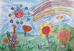 幼儿可爱的花朵春天风景蜡笔画作品