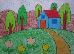 卡通漂亮的小房子儿童画画图片大全