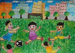 卡通踢足球小男孩儿童画画图片大全