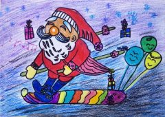 可爱的圣诞老人滑雪儿童蜡笔画素描彩铅
