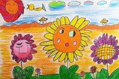 向日葵画图片 太阳花儿童蜡笔画教程彩图