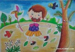 玩小风车的小男孩儿童画作品图片欣赏