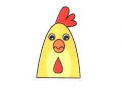 简笔画公鸡表情的画法图片大全彩色