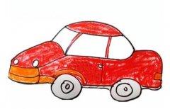 小轿车涂色儿童画 小汽车简笔画图片