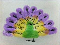 漂亮的孔雀手指画怎么画 孔雀的画法教程