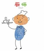 厨师、工人几个小人手指画 可爱小人的画法