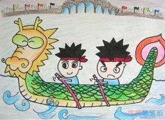 赛龙舟蜡笔画涂色 端午节赛龙舟儿童画作品欣赏