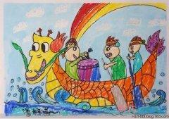 端午节龙舟水彩画图片 赛龙舟儿童画优秀作品