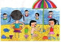 涂色海滩游玩儿童画 关于海边的简笔画图片