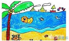 怎么画夏天的风景画 涂颜色的风景儿童画简笔画图片