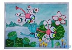 怎么画蜻蜓 蜻蜓点水涂色儿童画
