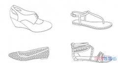 怎么画凉鞋 女生漂亮的凉鞋简笔画图片
