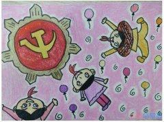 怎么画党徽 建党节党徽的儿童画画法