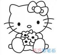 卡通凯蒂猫简笔画 怎么画动漫kitty猫图片步骤