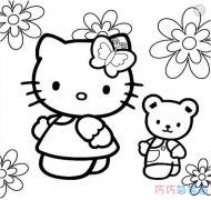 kitty猫和小熊的简笔画图片 怎么画凯蒂猫教程