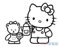 泰迪小熊和kitty猫的简笔画图片 怎么画凯蒂猫