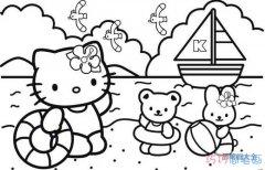 卡通kitty猫和小熊去游泳的简笔画图片教程