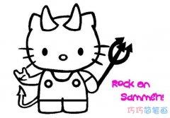 Hello Kitty 凯蒂猫的简笔画画法图片