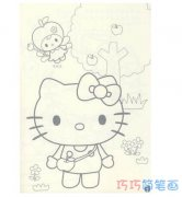手绘kitty凯蒂猫简单画法简笔画图片