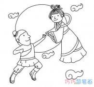 中秋嫦娥奔月的图片 儿童简笔画嫦娥图片