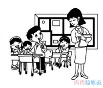 庆祝教师节的画 讲课的老师简笔画的图片