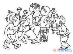 关于教师节给老师献鲜花送祝福的简笔画图片