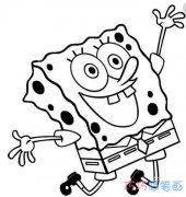 怎么画开心快乐的海绵宝宝 卡通海绵宝宝简笔画图片