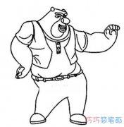 怎么画跳舞的熊大 熊出没熊大简笔画图片