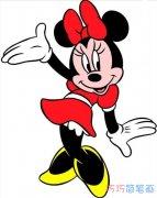 可爱的米妮涂颜色怎么画_米老鼠简笔画图片