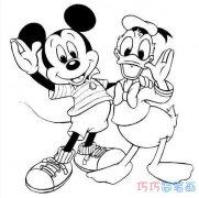 [图文]怎么画米老鼠和唐老鸭_米老鼠简笔画图片