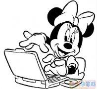 玩电脑的米妮老鼠怎么画_米老鼠简笔画图片