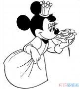 戴生日皇冠的米妮老鼠怎么画_米老鼠简笔画图片