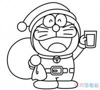 戴圣诞帽的哆啦a梦怎么画_机器猫简笔画图片