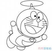 """戴""""竹蜻蜓""""飞的哆啦a梦怎么画_机器猫简笔画图片"""