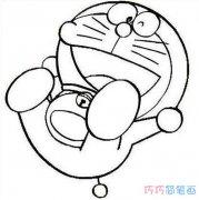 睡觉的叮当猫怎么画_卡通机器猫简笔画图片