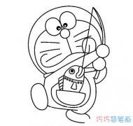 卡通叮当猫钓鱼怎么画_哆啦a梦简笔画图片