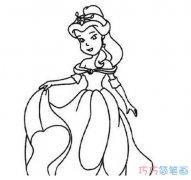 如何画卡通白雪公主图片_白雪公主简笔画图片
