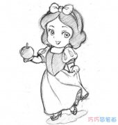 填色素描白雪公主儿童画_白雪公主简笔画图片