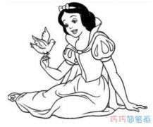 怎么画坐着的白雪公主_白雪公主简笔画图片