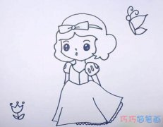 可爱的小白雪公主怎么画_白雪公主简笔画图片