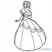 迪斯尼贝儿公主怎么画_贝儿公主简笔画图片