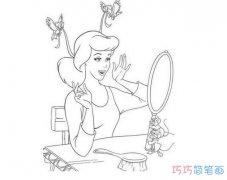 卡通迪斯尼贝儿公主的画法_贝儿公主简笔画图片