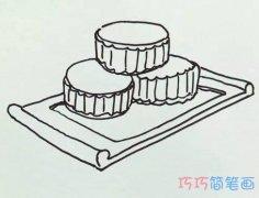 一盘的中秋月饼怎么画_月饼简笔画图片
