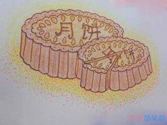 儿童中秋月饼的画法步骤图_月饼简笔画图片
