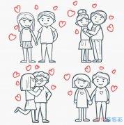 七夕浪漫情侣怎么画卡通_情人节简笔画图片