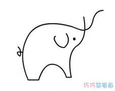 线条小象的画法简单_卡通大象简笔画
