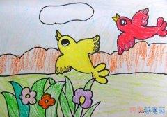 两只彩色小鸟的画法简单可爱_小鸟简笔画图片