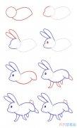 奔跑的小白兔简单画法步骤_小白兔简笔画图片